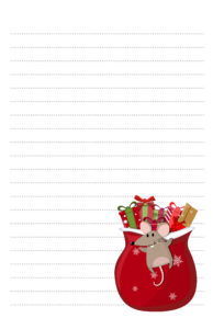 Christmas Mouse Half Page Pen Pal Stationery