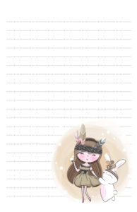 Dancing girl with bunny pen pal stationery