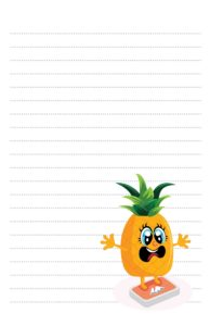 Funny Pineapple Diet Bathroom Scale Pen Pal Stationery