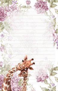 Giraffe Mom Baby Pen Pal Stationery