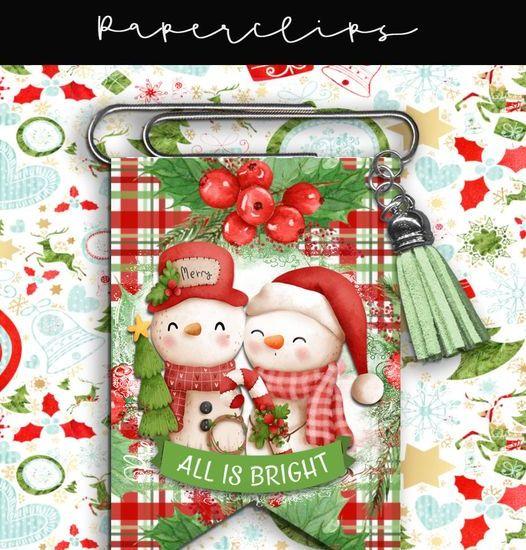 Christmas Snowmen Foldover Paperclip Bookmark