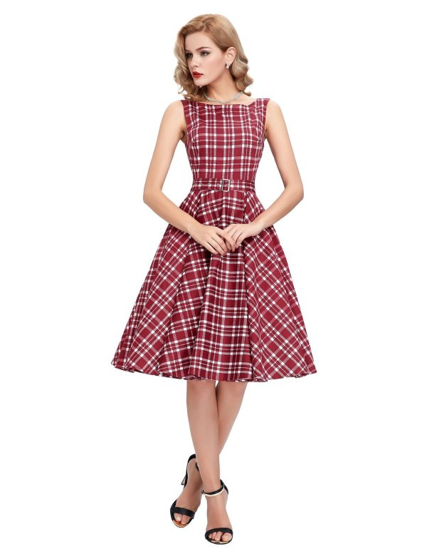 Sleeveless Cotton Vintage Tea Dress with Belt Red