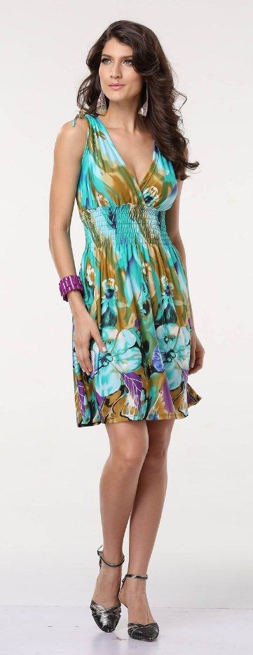 Spring Summer Casual Low-cut V-neck Prints Sundresses