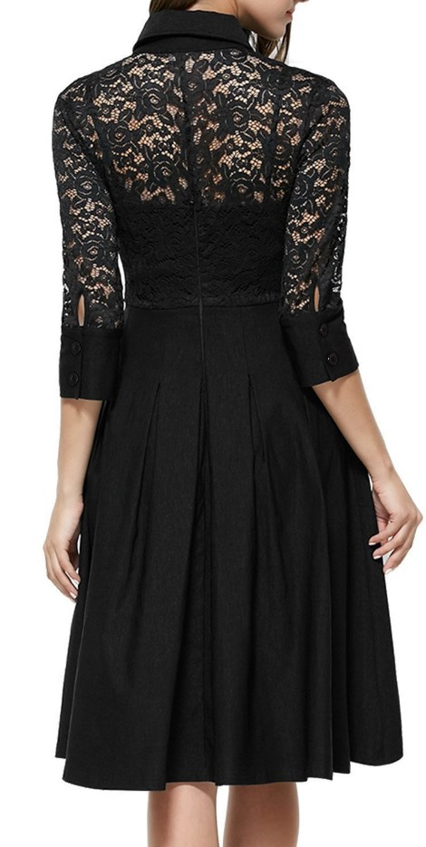 Vintage 1950s Style 34 Sleeve Black Lace Flare A-line Dress