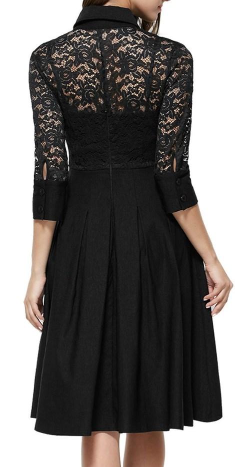 Vintage 1950s Style 34 Sleeve Black Lace Flare A-line Dress