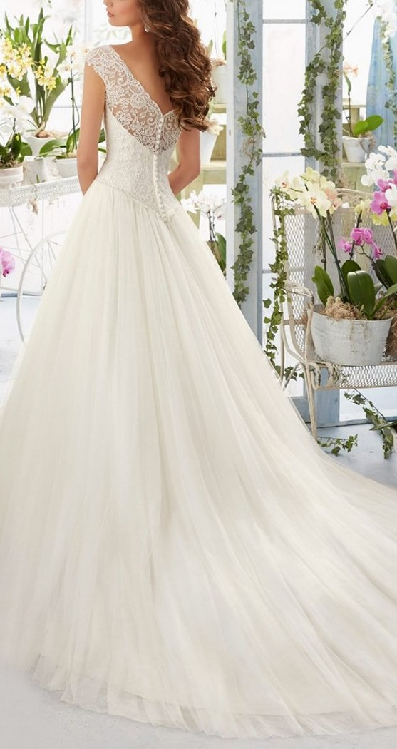 Simple Long A-Line Cap Sleeve Train Lace Wedding Dresses