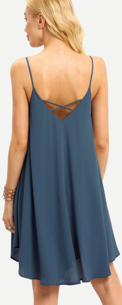 Summer Spaghetti Strap Sundress Sleeveless Beach Slip Dress blue