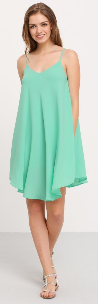 Summer Spaghetti Strap Sundress Sleeveless Beach Slip Dress light green