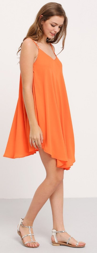 Summer Spaghetti Strap Sundress Sleeveless Beach Slip Dress orange