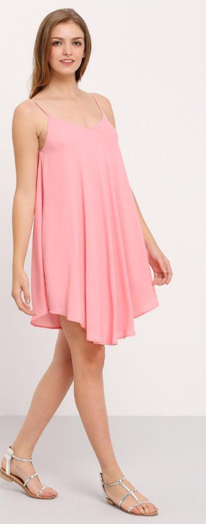 Summer Spaghetti Strap Sundress Sleeveless Beach Slip Dress pink