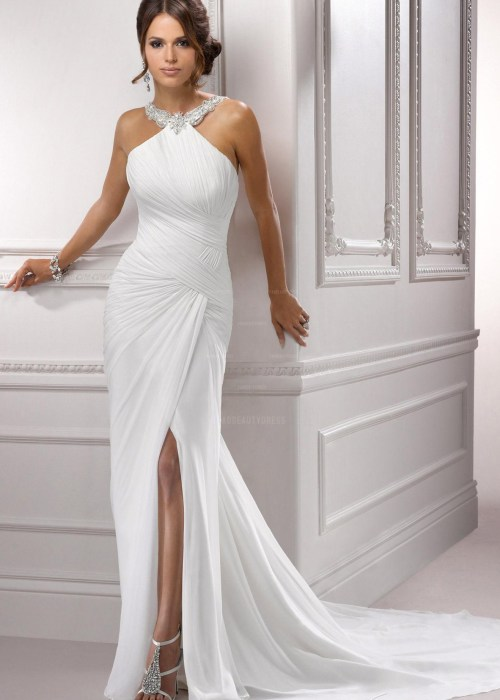 Shealth Halter Court Train Chiffon Wedding Dress