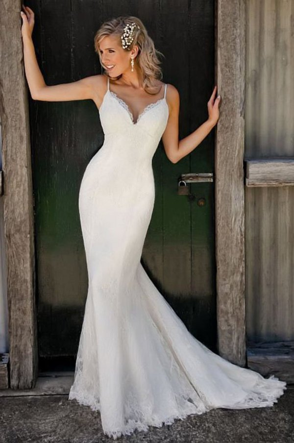 Spaghetti Straps V Neck Lace Mermaid Wedding Dress