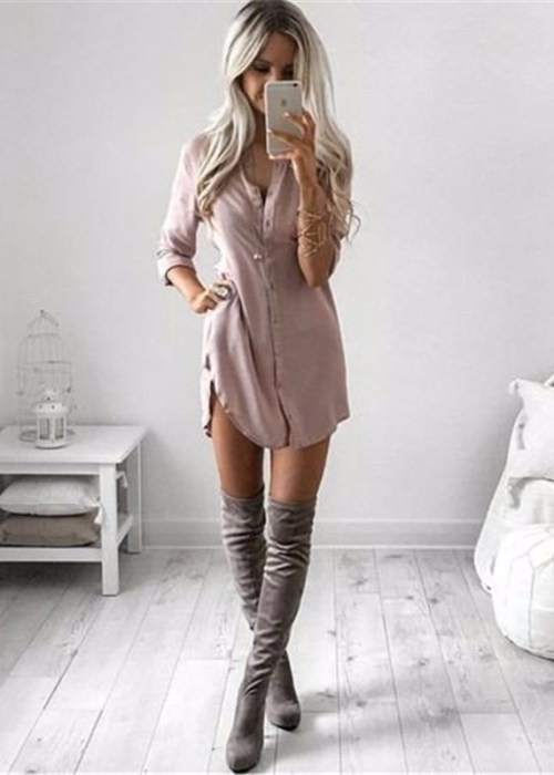 Casual Sexy Shirt Mini Dress