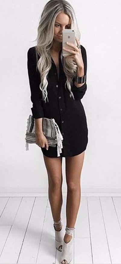 Casual Sexy Shirt Black Mini Dress