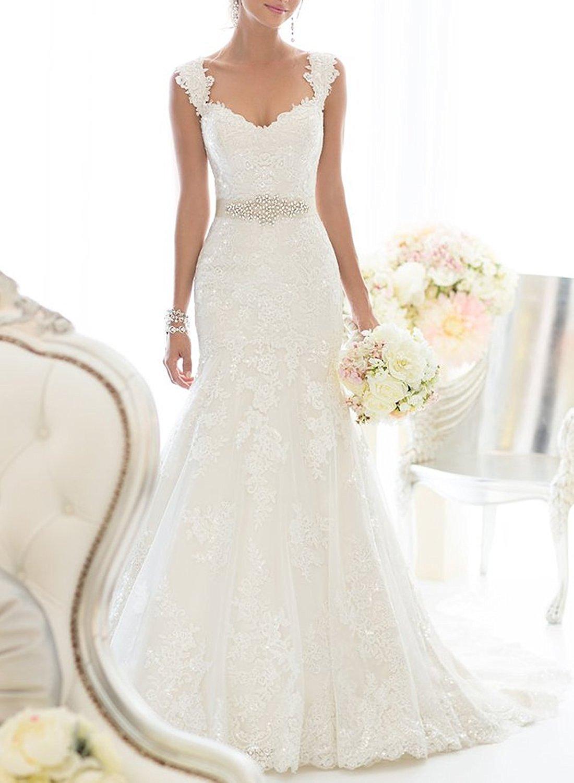 Elegant OffShoulder Crystal Lace Wedding Dress  Cute Dresses
