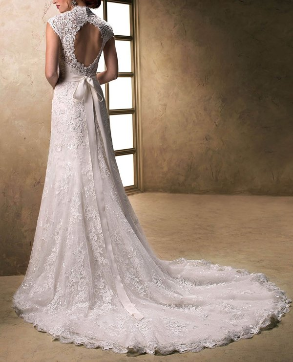 V-Neckline Cap-Sleeve Lace And Tulle With Satin Wedding Gown