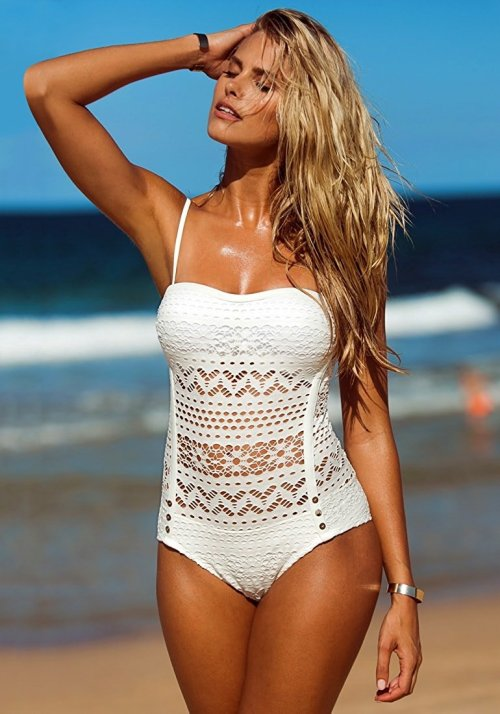 Crochet Lace Halter Straps Swimsuit