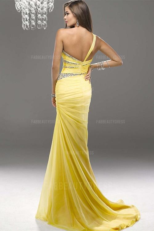 One Shoulder Court Train Chiffon Prom Dress