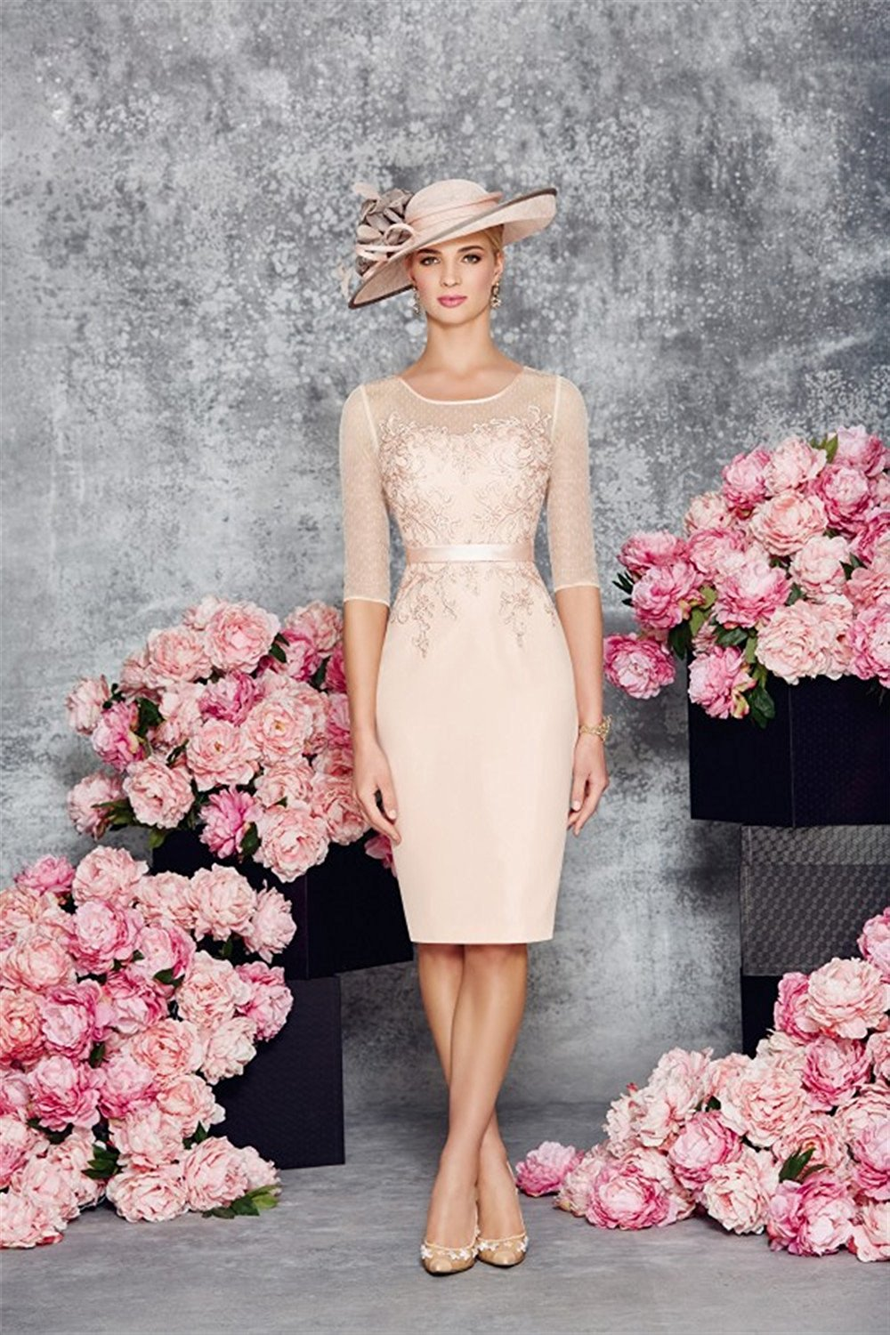 Round Collar Light Pink Mother of the Bride Dress  Cute