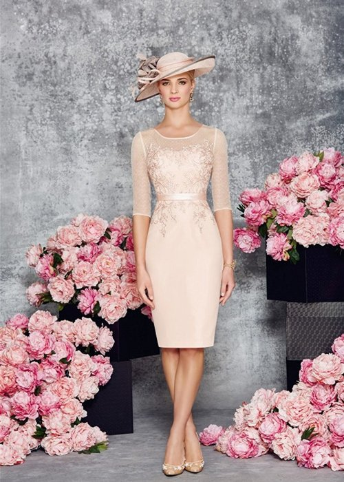 Round Collar Light Pink Mother of the Bride Dress