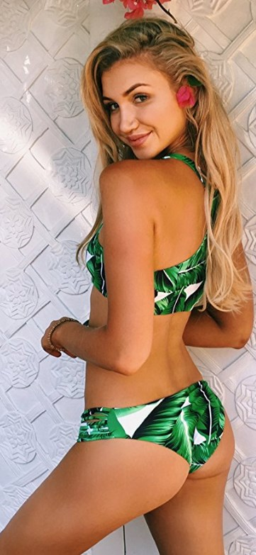 Tropical Leaves Printing Tank Padding Bikini Set Green