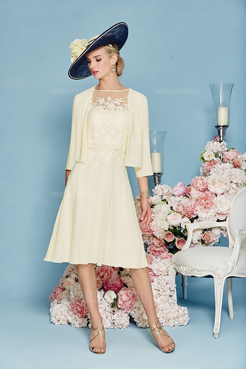 Mother of the Bride Dress With Jacket Yellow  Cute Dresses
