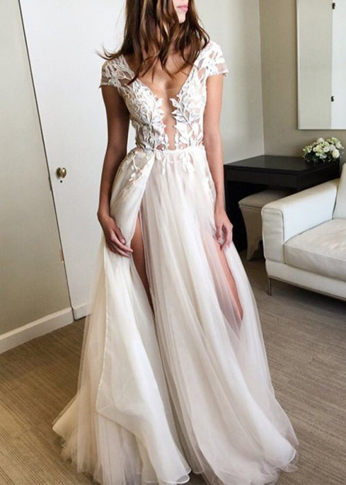 A-Line Appliques V-Neck Cap Sleeves Split-Front Prom Dress