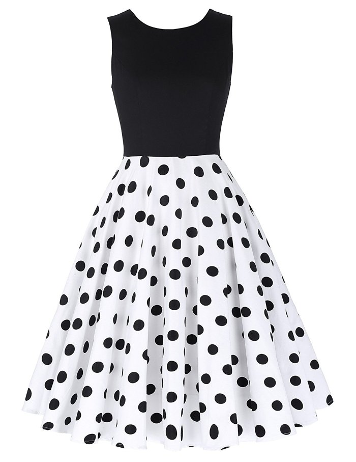 Boatneck Sleeveless Vintage Tea Dress With Belt black dot