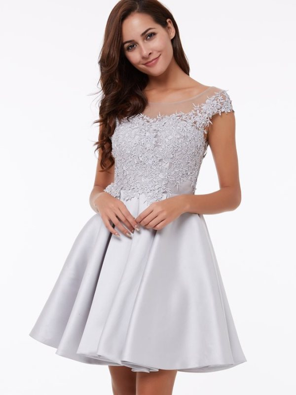 Cap Sleeves A-Line Scoop Appliques Lace Short Homecoming Prom Dress