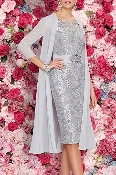 Mother Of The Bride Dresses Tea Length Two Pieces With Jacket grey