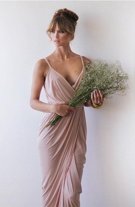 Pink Bridesmaids Wrap Maxi Dress