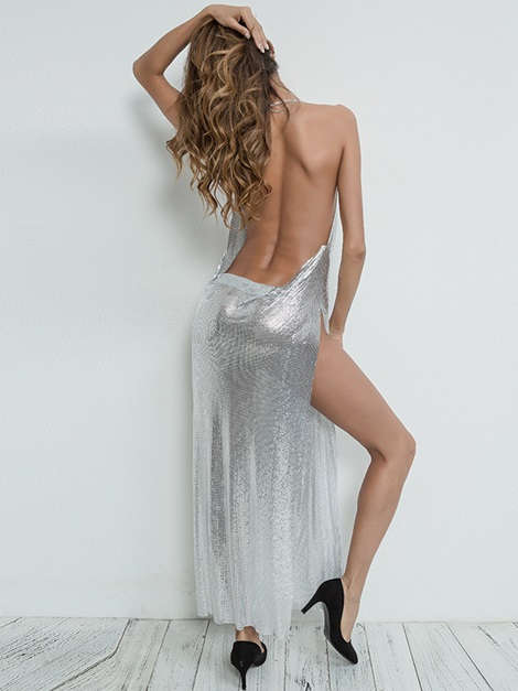 Sexy Backless Split Prom Dress Back