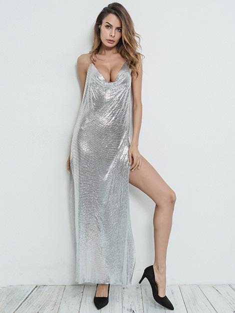 Sexy Backless Split Prom Dress