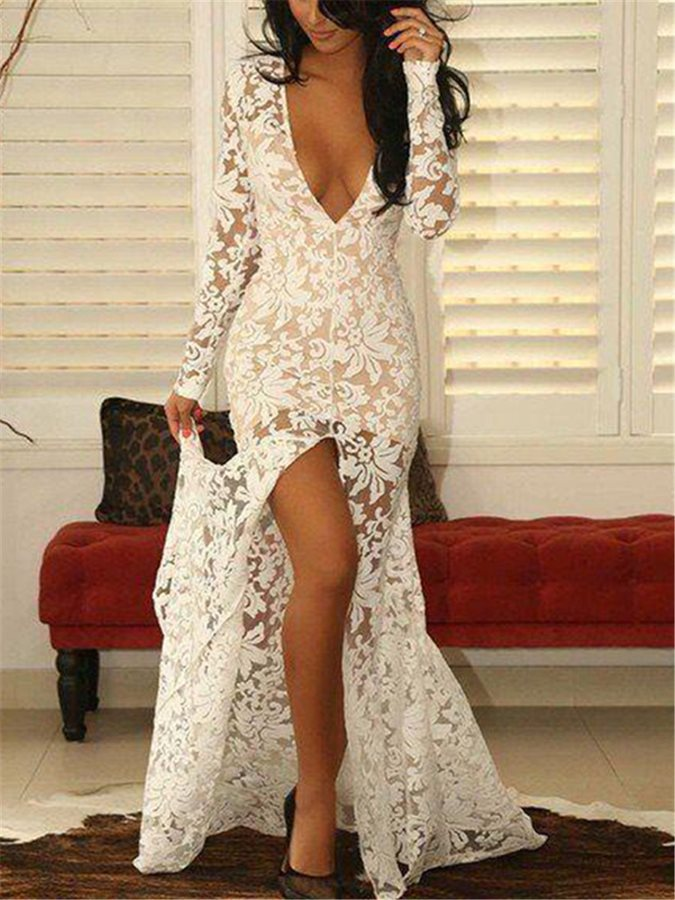 Sexy Prom Dress Deep V-Neck Front-Split Lace