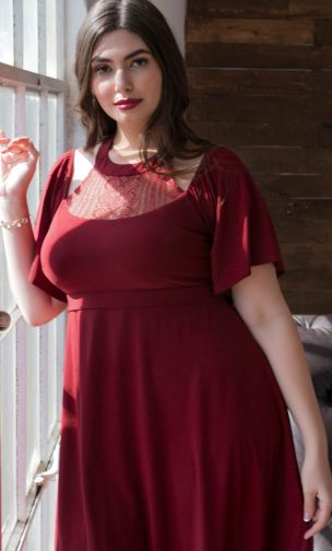 Plus Size Cocktail Flutter Dress