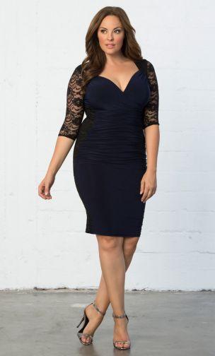 Plus Size Cocktail Illusion Dress