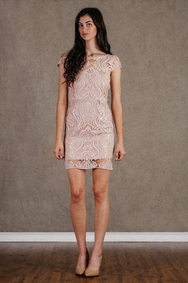 Sequin Royale Blush Bodycon Mini Dress Light Pink Main