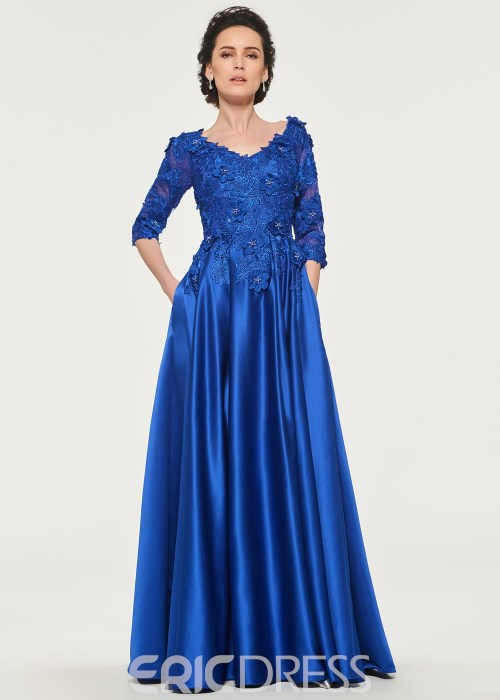 A-Line Half Sleeves Mother of the Bride Dress