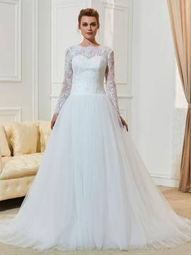 A Line Long Sleeves Jewel Neckline Beaded Wedding Dress