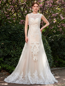 A-Line Mesh Lace Tulle Jewel Neck Wedding Dress