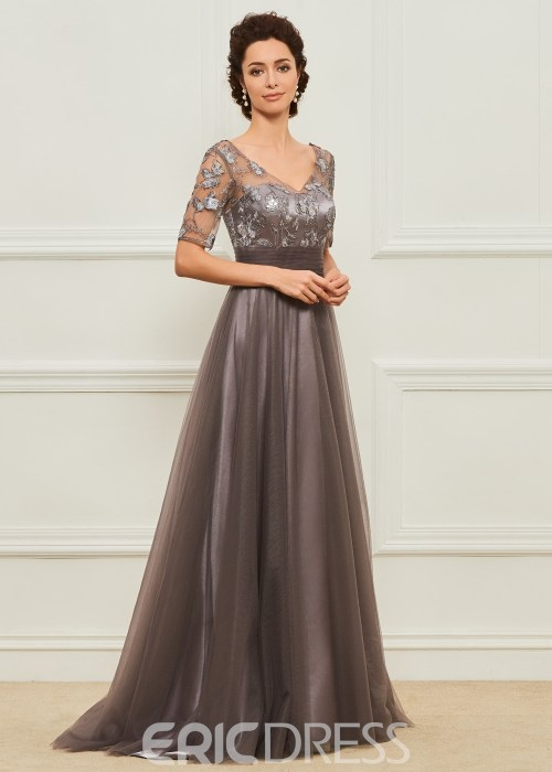 A Line Short Sleeves Tulle Mother of the Bride Dress