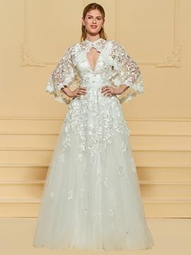 A Line Tulle Appliques Wedding Dress