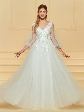 A Line Tulle Wedding Dress with Sleeves