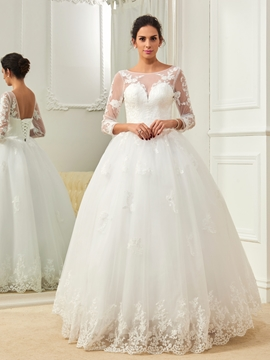 Amazing Bateau Appliques Ball Gown Long Sleeves Wedding Dress