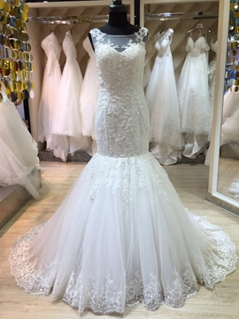 Amazing Illusion Neckline Appliques Mermaid Wedding Dress