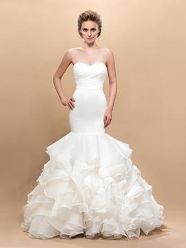Attractive Sweetheart Mermaid Pleats Floor-Length Wedding Dress