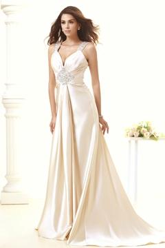 Attractive V-Neck Straps Sweep Beading Taline's Wedding Dress