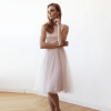 Baby Pink Midi Tulle Dress with Open Back SALE 1087