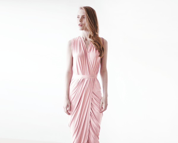Baby pink sleeveless tulip wrap maxi dress 1055