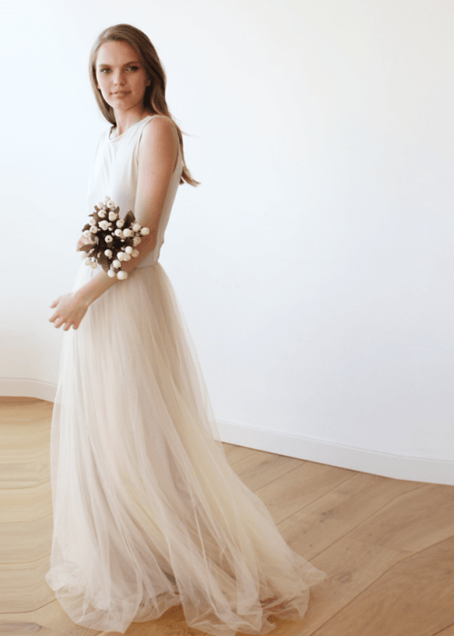 Backless Champagne Sleeveless Tulle Maxi Dress 1086